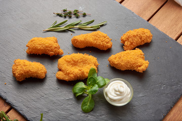 fast food background Fried chicken (five pieces) with french