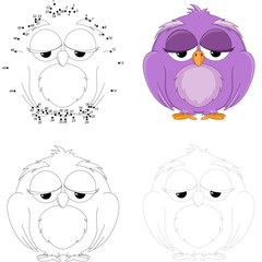 Cartoon owl. Dot to dot game for kids