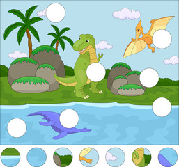 Funny cute pterodactyl, pliosaur and tyrannosaurus. Complete the