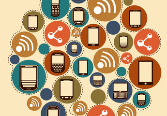 Colorful Circle of Cell Phones Illustration