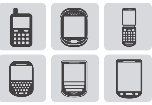 9 Square Grayscale Cell Phone Icons