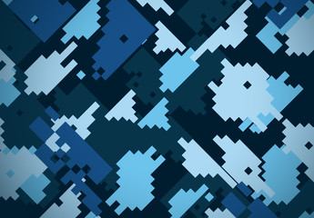 Blue Military Digital Camouflage Pattern
