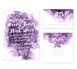 Beautiful wedding set with hand crafted watercolor background. Luxury lilac abstract background. Includes invitation, rsvp and menu cards templates.