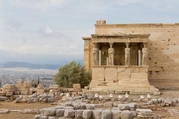 Caryatids on the Erechtheum temple, Acropolis of Athens, Greece