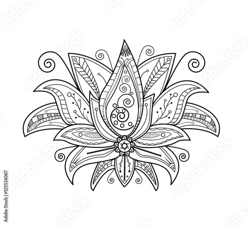 Quot Vector Illustration Of Lotus Flower For Coloring Book