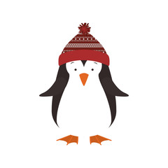 penguin with hat cartoon icon. Merry Christmas season decoration figure theme. Isolated design. Vector illustration