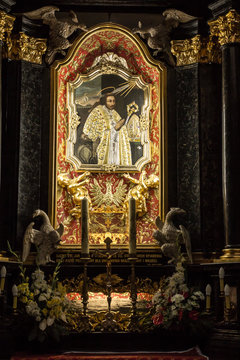 Krakow, Poland - October 2, 2016 r. Altar of St. Stanislaus of t