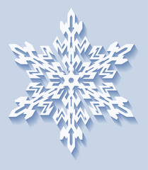Decorative snowflake with shadow in flat style. Vector geometric