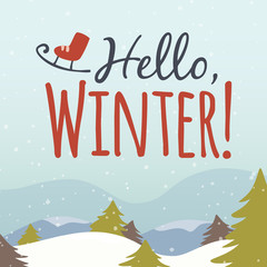 Vector hello winter cartoon illustration