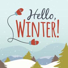Vector hello winter cartoon illustration