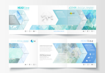 Trifold Brochure Layout with Cool Tone Geometric Design Element 2