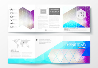 Square Trifold Brochure with Purple Tone Geometric Design Element