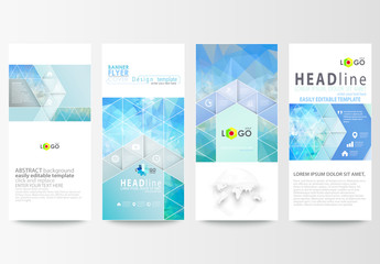 Vertical Flyer Layout with Cool Tone Geometric Design Element 1