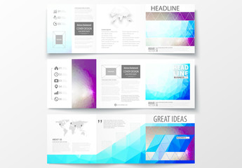 Square Trifold Brochure with Blue and Purple Tone Geometric Design Element