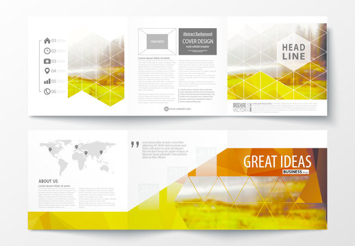 Trifold Brochure Layout with Warm Tone Geometric Design Element