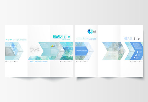 Trifold Brochure Layout with Halftone and Geometric Design Element