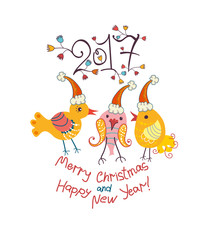 Funny chickens in Christmas cap. 2017. Merry Christmas and Happy New Year!