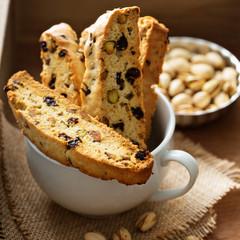Homemade biscotti in a big cup