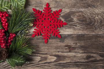 Christmas snowflake wood background. Wooden holiday decoration