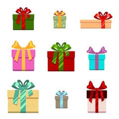Set of gift box flat and cartoon style.  for birthday, happy new year  christmas, vector illustration
