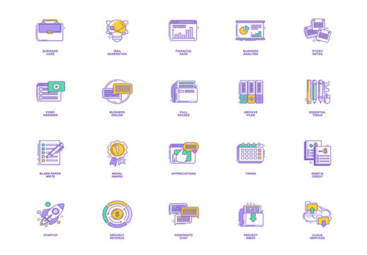 40 Purple Outlined Business Icons