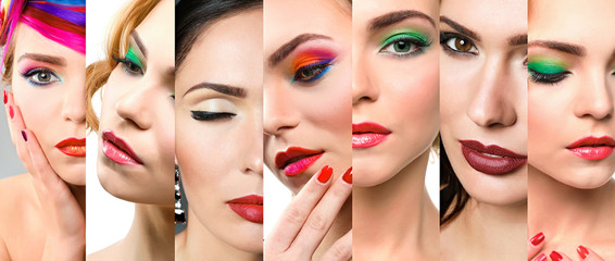 Collage of women with bright makeup. Beauty and fashion concept.