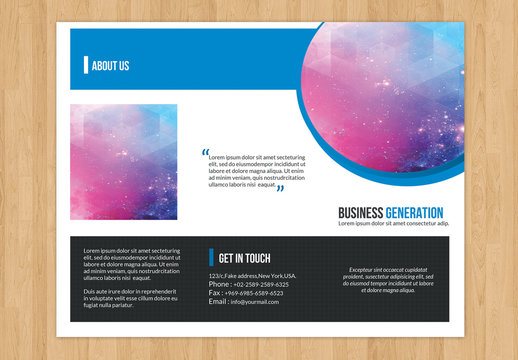 Business Brochure Layout with Cutout Circle Element