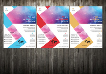 Corporate Flyer Layout with Zigzag Design Element