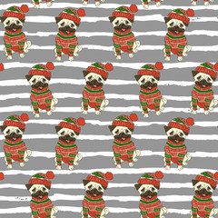 Christmas holidays seamless vector pattern with a funny pug in sweater and winter hat
