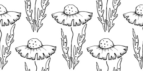 Vector illustration of flowers. Seamless black and white background with  dandelions with leaves. Hand drawn contour lines and strokes. Graphic vector illustration