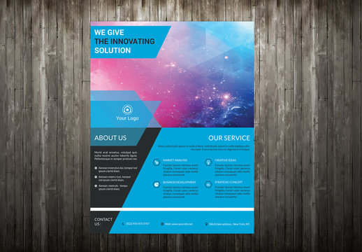 Corporate Flyer Layout with Polygonal Design Element