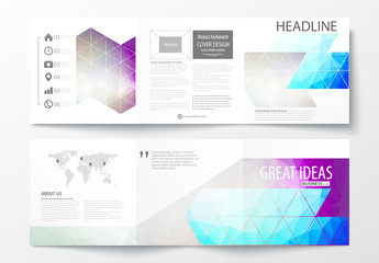 Trifold Brochure Layout with Cool Tone Geometric Design Element 4