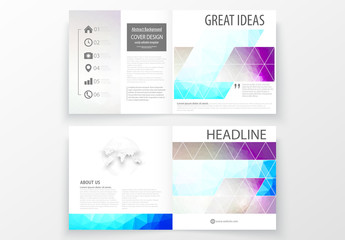 Square Brochure Layout with Cool Tone Geometric Design Element 7