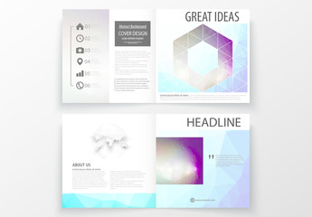 Square Brochure Layout with Cool Tone Geometric Design Element 8