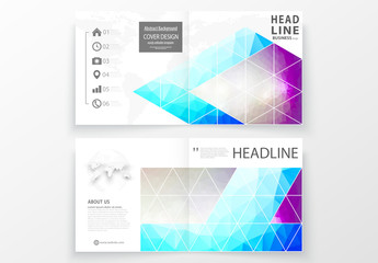 Square Brochure Layout with Cool Tone Geometric Design Element 9