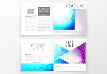 Square Brochure Layout with Cool Tone Geometric Design Element 10