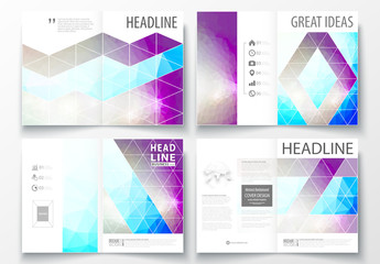 A4 Brochure Layout with Cool Tone Geometric Design Element 7