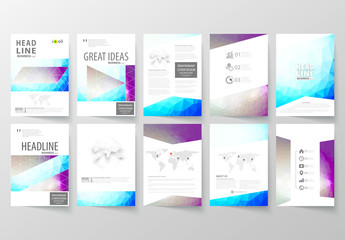 A4 Brochure Layout with Cool Tone Geometric Design Element 9