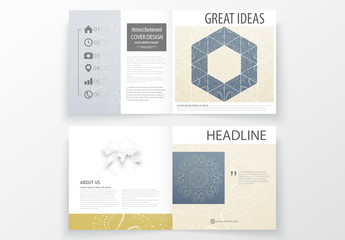 Square Brochure Layout with Dark Geometric Element 3