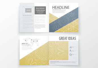 Square Brochure with Dark Geometric Design Element 1