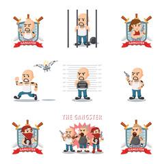 gangster cartoon set illustration design