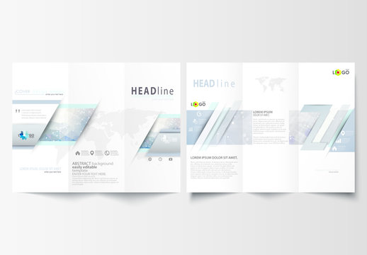 Trifold Brochure Layout with a DNA Strand Design Element 1