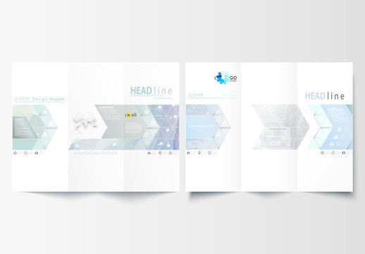Trifold Brochure Layout with a DNA Strand Design Element 2