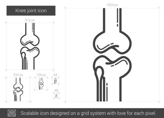 Knee joint line icon.