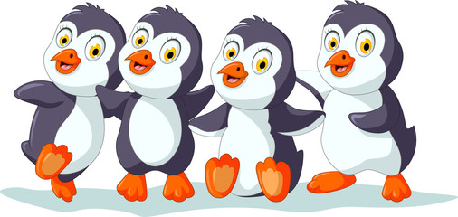 Collection of cartoon penguin isolated