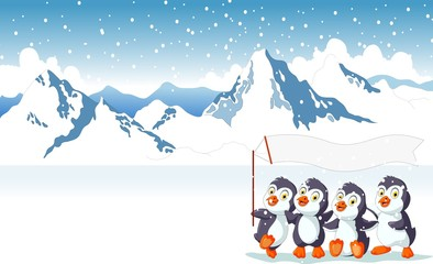 funny penguin cartoon holding flag with snow mountain landscape background