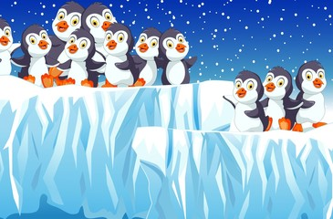 funny family penguin cartoon with snow mountain landscape background