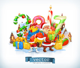 Merry Christmas and Happy New Year 2017. Santa Claus and Rooster. 3d vector