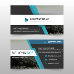 Blue black corporate business card, name card template ,horizontal simple clean layout design template , Business banner template for website