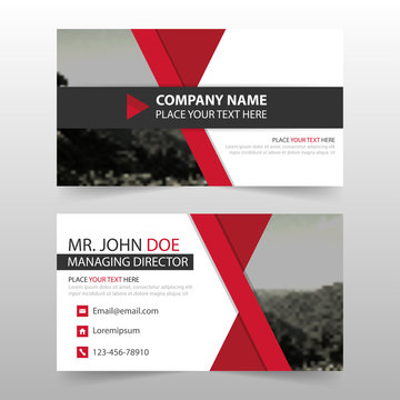Red corporate business card, name card template ,horizontal simple clean layout design template , Business banner template for website